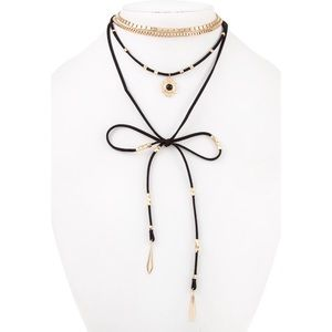 NWT Multi Layer Black Suede & Gold Choker